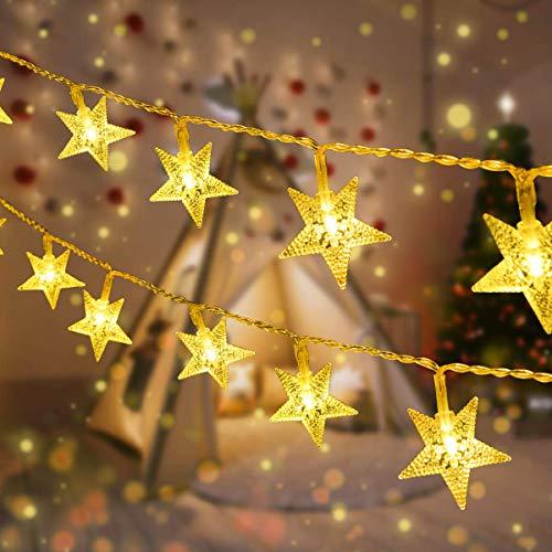 VIFLYKOO Guirnaldas Luces Navidad LED cadena de luces navideñas de estrella para interiores y exteriores,8 patrones, para dormitorio, patio, patio, boda, fiesta,10 metros 100 LED-Blanco cálido
