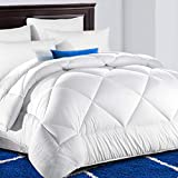 TEKAMON All Season Twin Comforter Soft Quilted Down Alternative Duvet Insert with Corner Tabs,Luxury Fluffy Reversible Summer Cool Hotel Collection, Snow White,64 x 88 inches