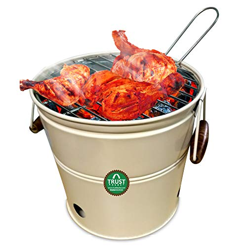 TrustBasket Round Portable Charcoal BBQ Barbeque Bucket Set for Indoor/Outdoor and Multiuse (Ivory)
