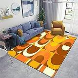 Orange Retro Industrial 70s Pattern Area Rugs Non-Slip Floor Mat Doormats Home Runner Rug Carpet for Bedroom Indoor Outdoor Kids Play Mat Nursery Throw Rugs Yoga Mat