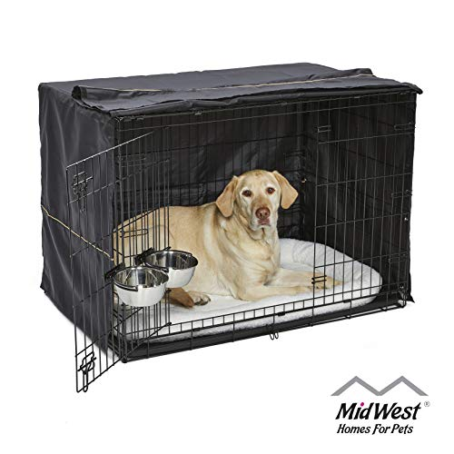 iCrate Dog Crate Starter Kit, 42-Inch Dog Crate Kit Ideal for LARGE DOG BREEDS Weighing 71 - 90 Pounds, Includes Dog Crate, Pet Bed, 2 Dog Bowls & Dog Crate Cover, 1-YEAR MIDWEST QUALITY GUARANTEE