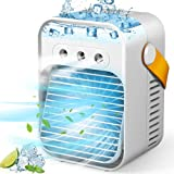 Portable Air Conditioner, Personal Evaporative Air Cooler Quiet Desk Fan with Handle, Rechargeable Humidifier Misting Fan with 7 Colors Light, 3 Speeds & 3 Spray Modes for Room Office Home Travel