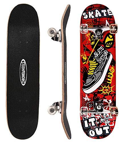 ChromeWheels 31 inch Skateboard Double Kick Skate Board Cruiser Longboard 8 Layer Maple Deck...