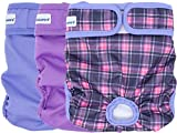 Petsweare Female Dog Diaper - Reusable and Washable - Soft & Comfortable -. A Set of 3 PCS (Medium, Purple, Lilac, Scottish)
