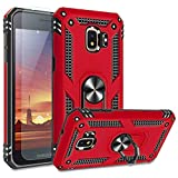 TJS Phone Case Compatible with Samsung Galaxy J2 Core/J2 2019/J2 Pure/J2 Dash/J2 Shine, [Tempered Glass Screen Protector] Impact Resistant Defender Metal Ring Magnetic Support Heavy Duty (Red)