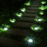 Solpex 12 Pack Solar Ground Lights, 8 LED Solar Powered Disk Lights Outdoor Waterproof Garden Landscape Lighting for Yard Deck Lawn Patio Pathway Walkway (White)