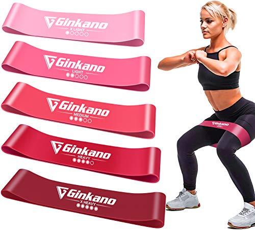 Haquno - Fasce Elastiche per Fitness, Elastiche di Resistenza, con Guida di Esercizi, 5 Bande Elastiche da Fitness, in Lattice Naturale, per Allenamento di Forza, Pilates, Bodybuilding, Yoga