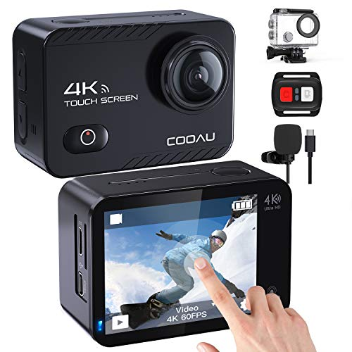 COOAU Action Cam 4K Nativo 60fps 20MP Touch Screen WiFi Sport Camera Stabilizzazione EIS Fotocamera Subacquea Impermeabile con Microfono Esterno Telecomando 2x1350Amh Batterie (01)