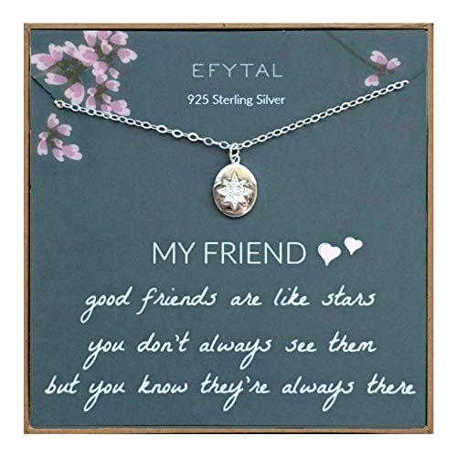 EFYTAL Best Friend Gifts, 925 Sterling Silver Star...