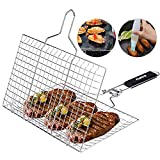 ACMETOP Portable Grill Basket 304 Stainless Steel Fish Grill Basket with Removable Handle, Grill...