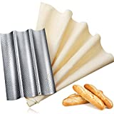 Bread Baking Kit, Nonstick Perforated Baguette Pan and Bakes Dough Couche, French Bread Loaf Bake Mold Oven Toaster Pan, Large Cotton Pastry Proofing Cloth for Baking Bread Use (M, Silver)