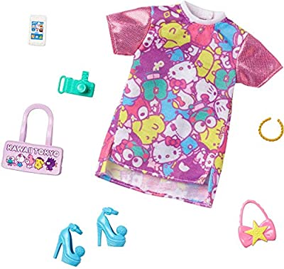 This Barbie doll fashion pack incorporates recognizable icons from beloved brand Hello Kitty & Friends into graphics and prints (doll sold separately). A colorful t-shirt dress is designed with shimmery pink shoulders and a print with Hello Kitty & F...