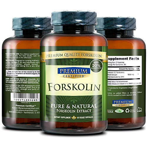 100% Pure Forskolin Premium Extract - 20% Coleus Forskohlii - Natural Weight Loss, Fat Burner and Belly Buster - 360 Veg Capsules (6 Months Supply) 5