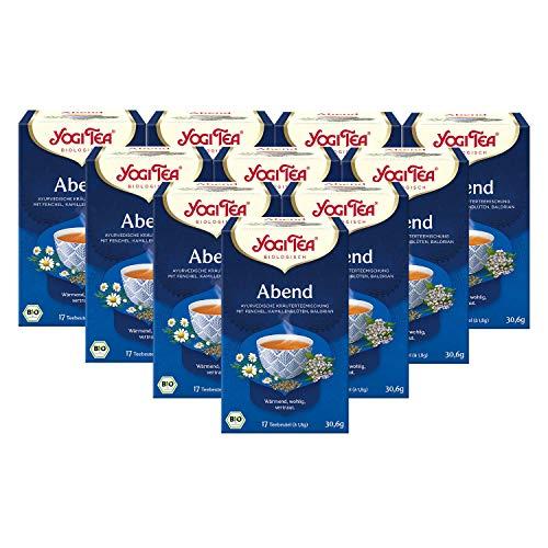 Yogi Tea 10x Abend-Tee Bio Yogi Tee I 170 Tee-Beutel I 10 Päckchen Bio Kräutertee mit Fenchel Kamille Baldrian uvm.