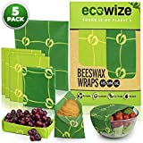 Beeswax Food Wrap Set of 5-1 Small 3 Medium and 1 Large Eco Friendly Natural Reusable Beeswax Wrap - Wrap Food, Reduce Waste Bees Wrap Reusable Food Wrap - 100% Organic Beeswax Wrap