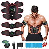 ABS Stimulator Ab Machine Rechargeable, EMS Abdominal Trainers with 6 Modes 10 Levels, Muscle Toner Workout Exercise Equipment for Men Women, Free 10pcs Gel Ab Stimulator Pads Included