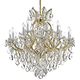 Maria Theresa 19 Light Clear Crystal Gold Chandelier
