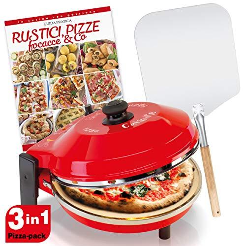 SPICE - Forno Pizza CALIENTE con pietra refrattaria 32 cm 400 gradi Resistenza circolare + Pala 66...