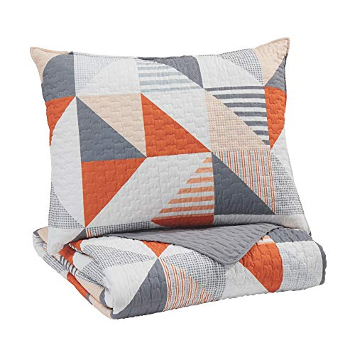 Signature Design by Ashley - Layne Modern 2 Piece Coverlet Set - Twin Size - Gray/Orange