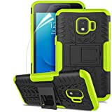 Samsung Galaxy J2 Case,Galaxy J2 Core Case/Galaxy J2 Dash/J2 Pure/J2 Shine/J260,Numy Dual Layer Shockproof,w HD Screen Protector,Protective w Kickstand Hard PC & Soft TPU Case,Tire Appearance-Green