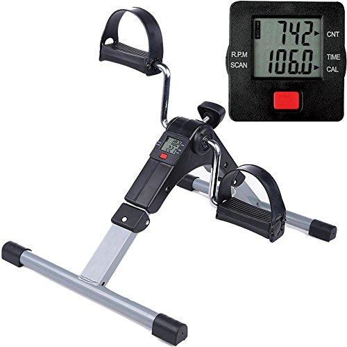 Himaly Minibike Heimtrainer Bewegungstrainer Pedaltrainer Trainingsgerät Fitnessgerät mit LCD-Monitor Einstellbarer Widerstand Fahrradtrainer Fitness-Fahrrad Heimfahrrad Beintrainer Zuhause Büro