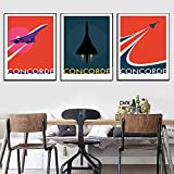 WAFENGNGAI Vintage Concorde Airplane Poster and Print Canvas Painting Flying The...