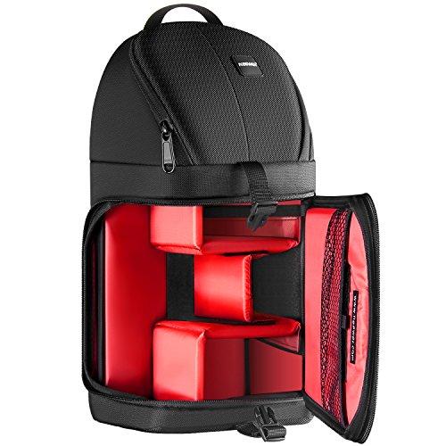 Neewer プロなカメラストレージスリングバッグ防水耐衝撃性防護パーティションの保護ケース Canon Nikon Sony Pentax Olympus Fujifilm Panasonic DSLRとミラーレスカメラに対応 (赤い内装)