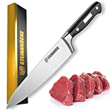 STEINBRÜCKE Chef Knife, 8 inch Pro Kitchen Knife Forged from German Stainless Steel 5Cr15Mov (HRC58), Full Tang, Ultra-sharp Classic Cooks Knife with Ergonomic Handle for Home Kitchen & Restaurant