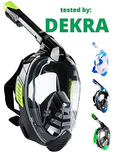 Khroom® Von DEKRA® geprüfte CO2 sichere Schnorchelmaske Vollmaske | bekannt aus YouTube | Seaview X - Schwimmmaske Tauchmaske für Erwachsene & Kinder (Schwarz, L/XL)