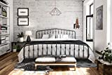 Novogratz Bushwick Metal Bed with Headboard and Footboard   Modern Design   King Size - Grey