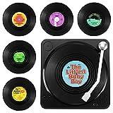 GoldOars 6 Posavasos De Vinilo Aislante Antideslizante, Diseño De Disco CD Vintage,...