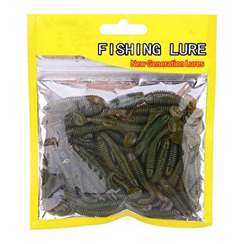 50 Pezzi Esche da Pesca Esche Set, plastica Morbida t-Tail Esca, 9 Colori Larve Esche da Verme Pesce Tackle Accessorio (Nero)