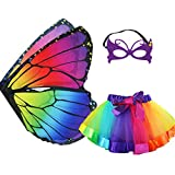 Rainbow Kids Butterfly Wings Costume for Girls Mask Tutu Halloween Dress Up Party (Multicolor)