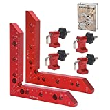 NorBeng Aluminum Alloy 90 Degree Positioning Squares Right Angle Clamps Corner Clamp Carpenter Tool for Woodworking Picture Frame Box Cabinets Drawers 2pcs Squares(140mm/5.5')+ 4sets Clamp Block