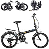 20' High Tensile Steel Folding Bike Mini Bicycle Compact Bikes for Students, Office Workers, Urban Environment and Commuting to Work (Black)