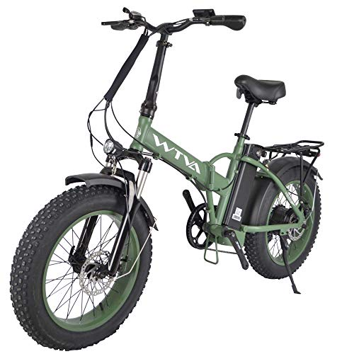 Product Image 4: Adult Electric Bike, 20 Inch Fat Tire Folding Electric Bicycles 48V 750W Motor 13AH Lithium-Ion Battery, Beach Snow Hunting City 7 Speed Cycling E-Bikes for Women Men (Green)