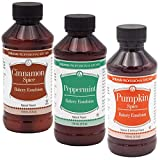 Lorann Bakery Emulsion Variety pack - one 4 ounce bottle of each Cinnamon Spice, Peppermint and Pumpkin Spice