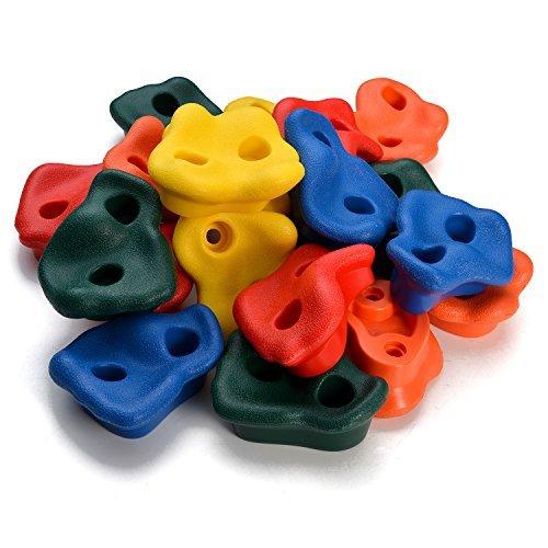 WADEO 20 Piezas Presas de Escalada para niños, Textured Escalada, Escalar Kit para Juego de Patio Interior/al Aire Libre para Niños, Multicolor