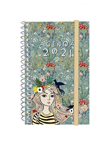 Finocam - Agenda 2021 Semana vista apaisada Espiral Design Collection Lady Español, Mini - E3-79x127 mm