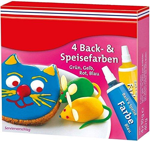 Lebensmittelfarben Set, 4er-Pack: rot, gelb, blau, grün (4x10g)