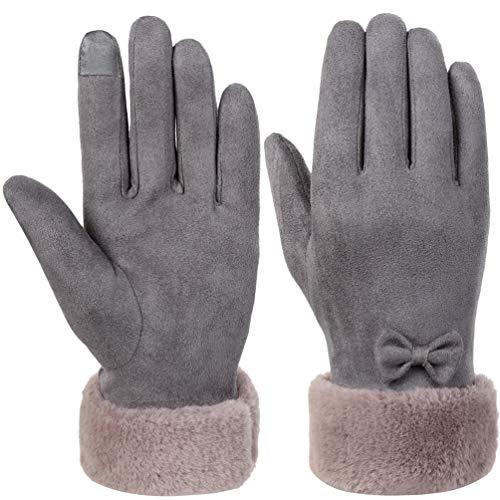 Vbiger Damen Winter Handschuhe Touchscreen Handschuhe Erweiterte Eleganz Verdickt Kalt Wetter Handschuhe Casual Handschuhe für Party Wandern Reisen Und Radfahren, Grau, M