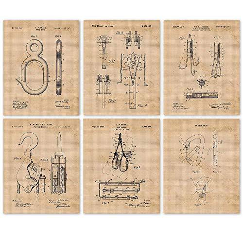 Vintage Rock & Mountain Climbing Patent Art Poster Prints,...