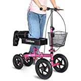 OasisSpace All Terrain Knee Scooter - with 12 Inches Air Filled Wheels, Steerable Knee Walker Heavy Duty Crutches for Foot Injuries Ankles Surgery (Blue) (Pink)