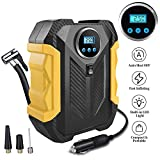Surwit Portable Tire Inflator Pump, DC 12V Car Tire Air Compressor, Auto Shut Off Feature, Digital LCD Display, Emergency LED Flashlight, for Car Truck Motorcycle Bicycle Tires (Yellow)