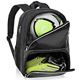 Youth Soccer Bag - Soccer Backpack & Bags for Basketball, Volleyball & Football   Includes Separate Cleat and Ball Compartment