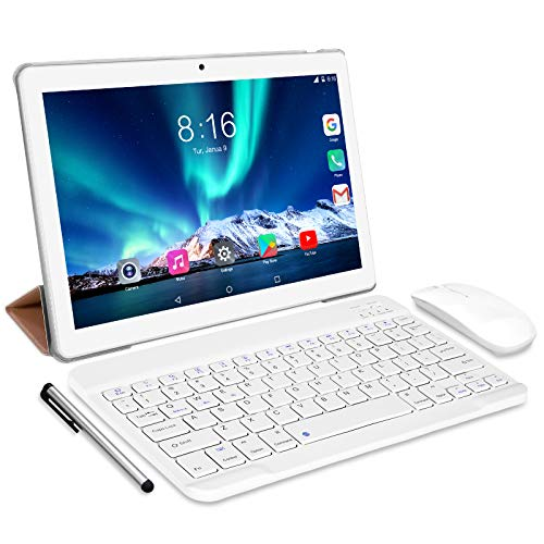 Tablet 10 Pulgadas 8 Core - TOSCiDO Android 10.0 Certificado por Google GMS 4G LTE Tablets,4GB de RAM y 64 GB,Dobles SIM, GPS,WiFi,Teclado Bluetooth,Ratón,Funda para Tableta y Más Incluidos - Silver