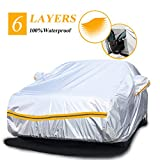 Autsop Car Cover Waterproof All Weather,6 Layers Car Cover for Automobiles Outdoor Full Cover Sun Hail UV Snow Dust Protection with Zipper, Universal A3-3XXL(Fits Sedan 194' to 208')