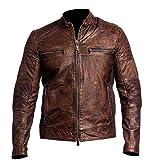 Distressed Brown Motorcycle Real Sheepskin Leather Biker Jacket (XL)