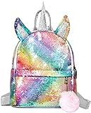 ZyLam Mochilas de la escuela Unicornio,Mochila de Unicornio, Mochila Escolar para niña, Mochila de Lentejuelas, Mochila de Viaje,Mochila de Moda Cute Glitter Girl,bolsos del estudiante (B)