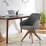 Art Leon Mid-Century Modern Swivel Accent Chair with Beech Wood Legs, Grey Upholstered Cute Desk Chair Without Wheels for Home Office Living Room Bedroom